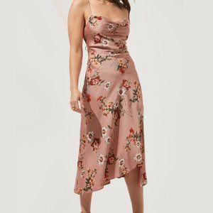 ASTR silk floral printed midi dress M